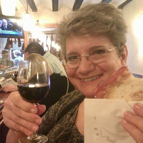 Mom enjoying her jamon serrano
