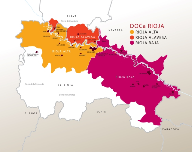 Rioja's Three Regions, courtesy of Vibrant Rioja